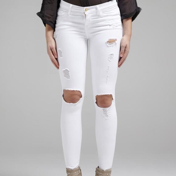 Frame Denim Jeans | Distressed White Skinny Jean | Poshmark
